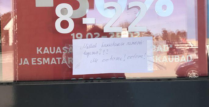79902d6ef60 Pihlaka Rimi uksel seisab silt: «Millal hakatakse remonti tegema??? Me  ootame