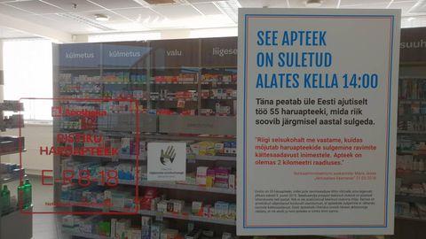 Pärnu haigla apteek on protestiürituse tõttu täna pealelõunal suletud.