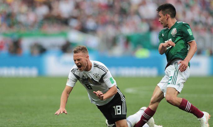 b41a3113d56 Kaotus Mehhikole tähendas Saksamaale nii hinge- kui ka auhaava. Pildil teeb  Mehhiko värava löönud Hirving Lozano liiga Saksamaa kaitsjale Joshua  Kimmichile.