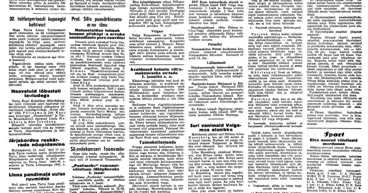Postimees 1944. aastal: naisteenistujad aidaku rindemeestele varrukavappe tikkida