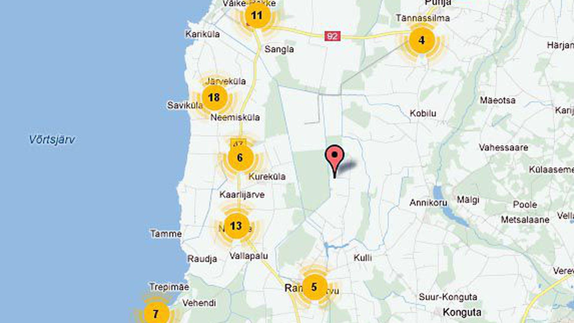 Elektrikatkestusi oli enim Võrtsjärve ääres ja Ida-Tartumaal:
